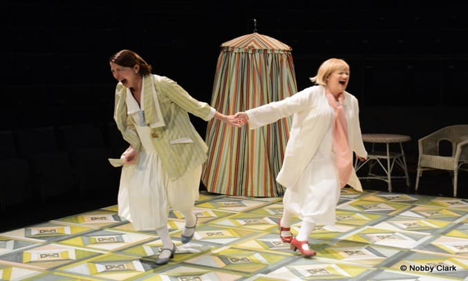 Becky Hindley and Nicola Sanderson in Northern Broadsides' THE MERRRY WIVES. Image: Nobby Clark ©