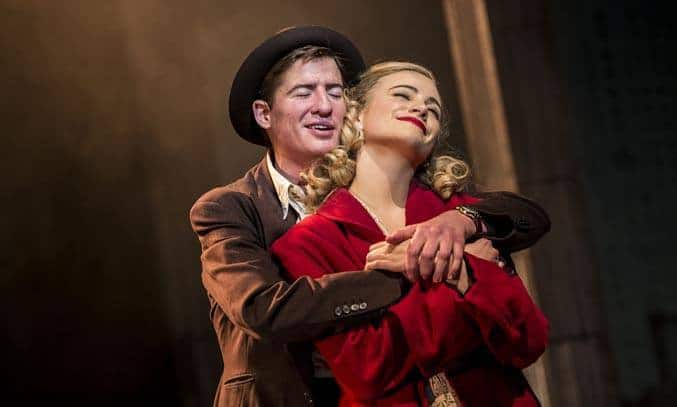 Matt Barber as Fred and Pixie Lott as Holly Golightly in BREAKFAST AT TIFFANY'S. Credit: Sean Ebsworth Barnes