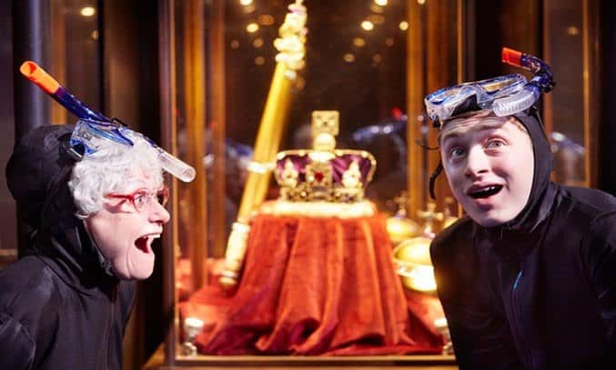 Gilly Tompkins as Granny and Ashley Cousins as Ben in GANGSTA GRANNY.