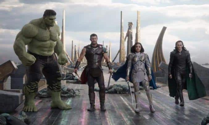 Mark Ruffalo, Tom Hiddleston, Chris Hemsworth, and Tessa Thompson in Thor Ragnarok (2017)
