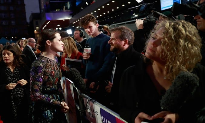 Claire Foy talks to a reporter at the 61st BFI London Film Festival.