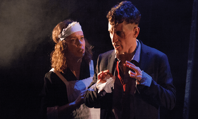 Sarah Middleton as Rose and Jacob James Beswick as Pinkie in BRIGHTON ROCK.