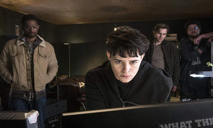 Sverrir Gudnason, Claire Foy, Lakeith Stanfield, and Cameron Britton in THE GIRL IN THE SPIDER'S WEB (2018)