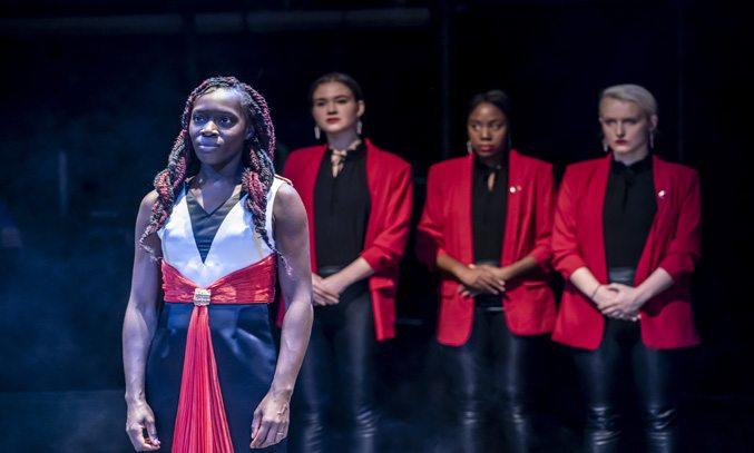Ony Uhiara (Lady Macbeth), Bryony Davies, Nicola May-Taylor and Charlotte Marriam in MACBETH