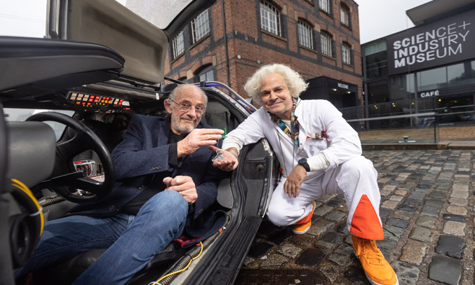 Christopher Lloyd handing over the keys to Roger Bart (Doc Brown) for BACK TO THE FUTURE THE MUSICAL