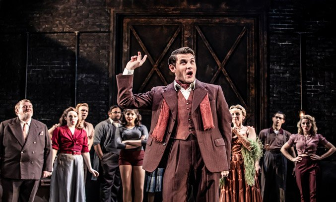 Samuel Holmes as Christopher Belling' and cast of CURTAINS