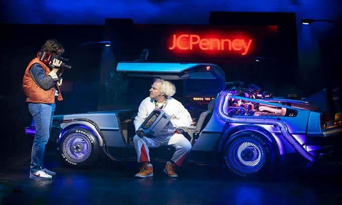 Olly Dobson as Marty McFly and Roger Bart as Doc Brown in BACK TO THE FUTURE